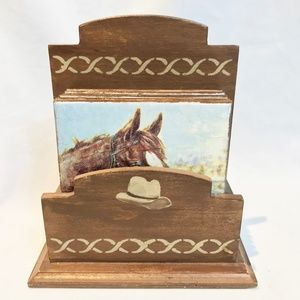 Vintage Artisan Crafty Horse Coasters With Stand